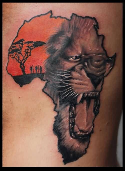 Trendy African map Tattoo On Ribs