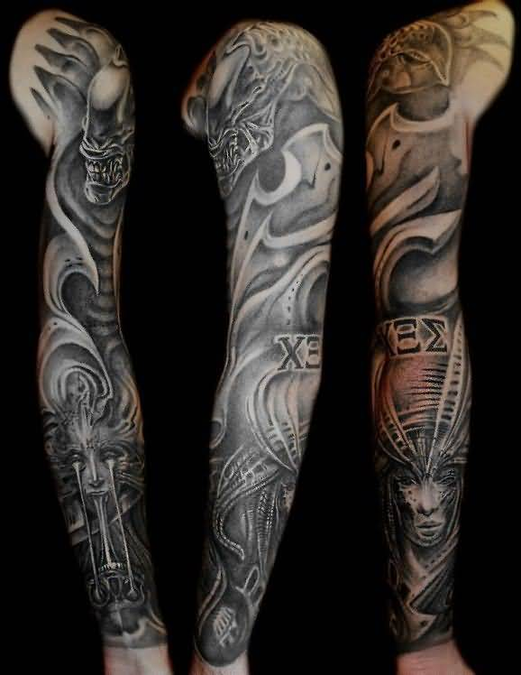 Trendy Alien Sleeve Tattoo For Boy