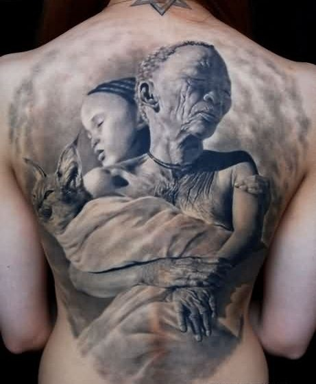 Tribal African Family Tattoo On Back