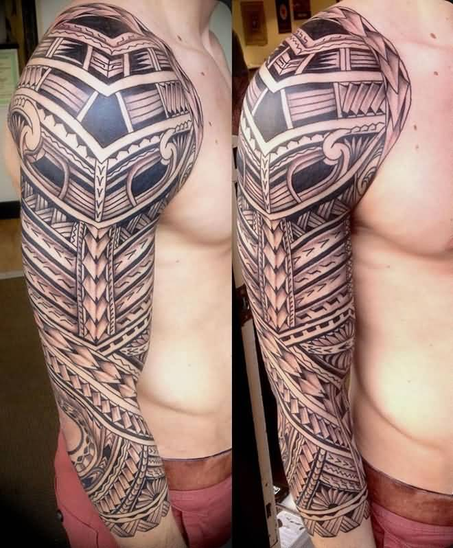 Traditional African Tattoo For Boy's Sleeve