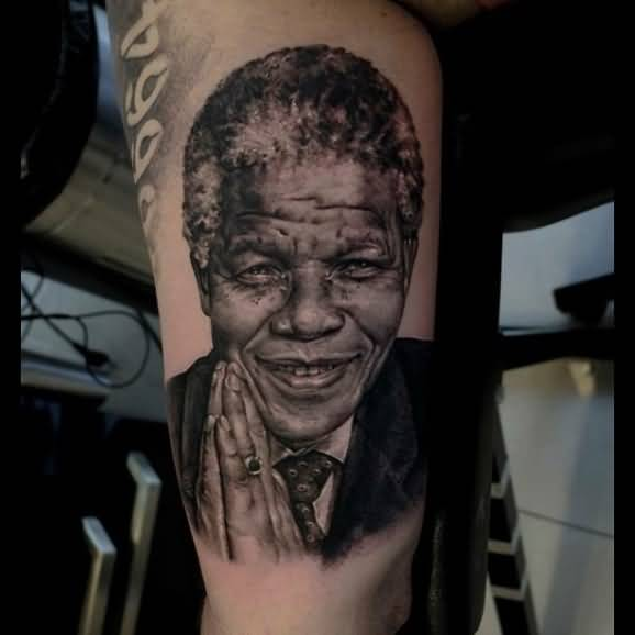 Vintage African Nelson Mandela Tattoo On Sleeve