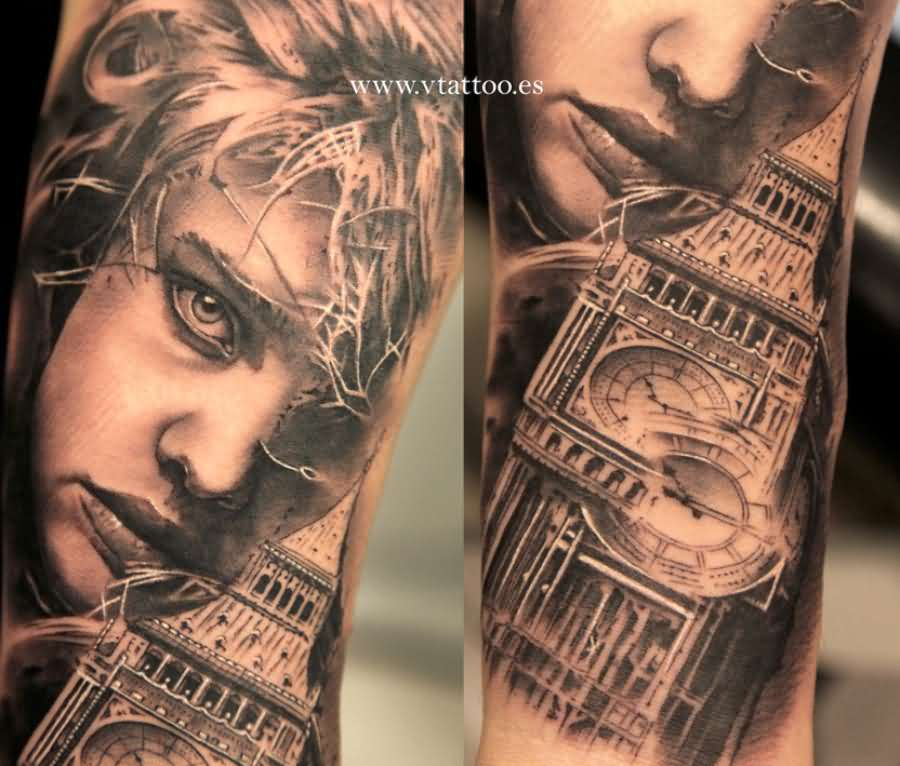 c43bb2c63 Famous 3D Big Ben Tattoo On Sleeve
