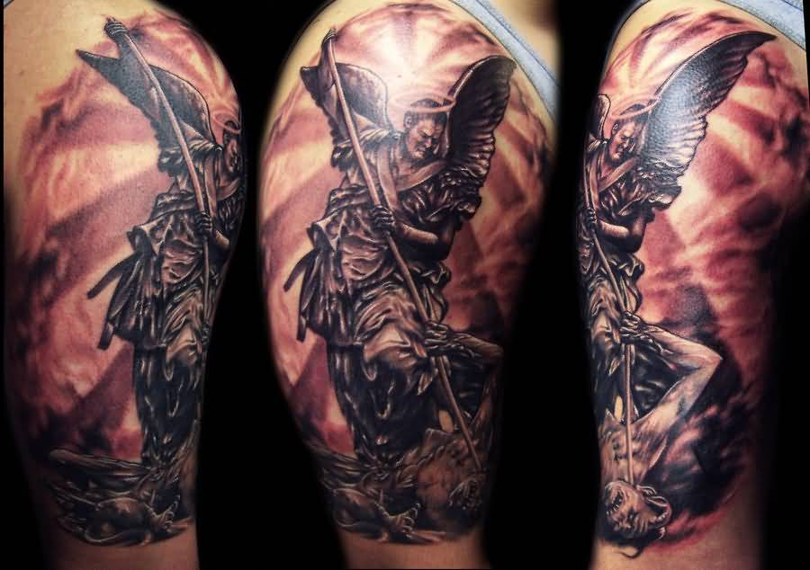 Wonderful Angel Sleeve Tattoo For Men