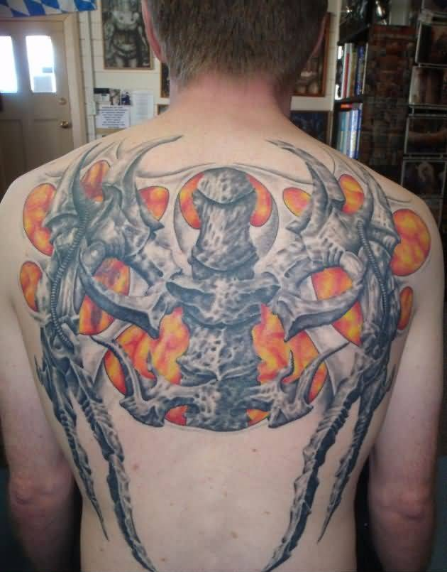 3D Flames And Back Bone Tattoo Design