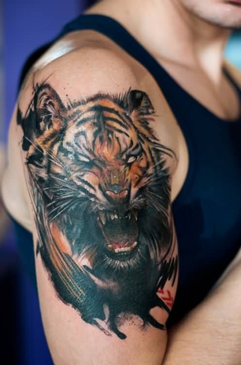 3D Roaring Asian Tiger Tattoo For Men's Bicep