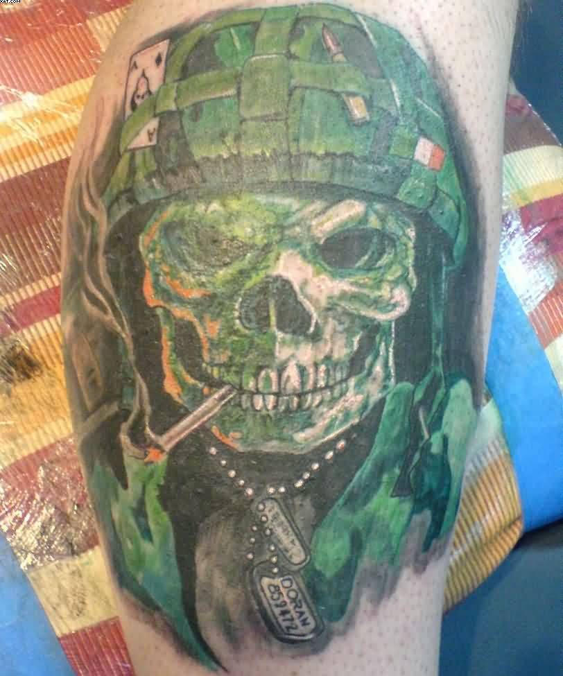Addicted Army Skull Tattoo Design For Men