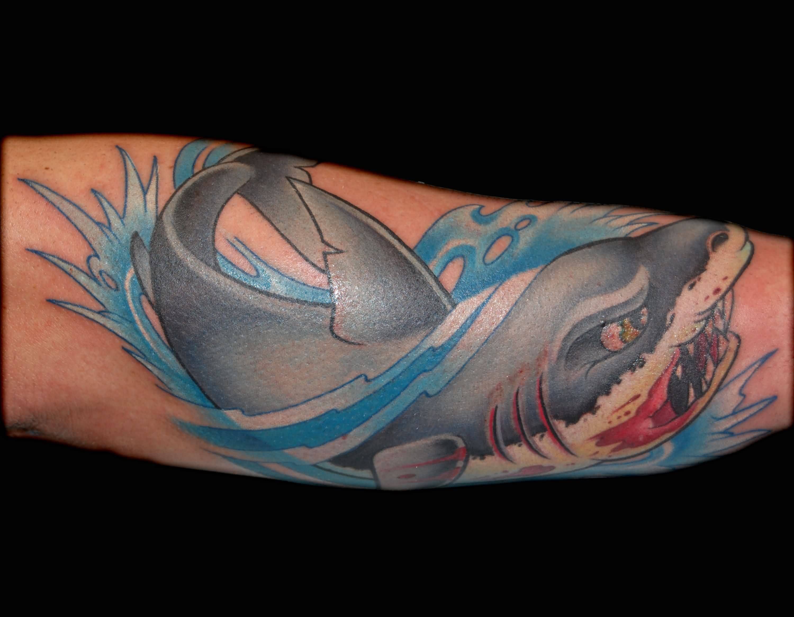 Popular Aqua Shark Fish Tattoo On Sleevev
