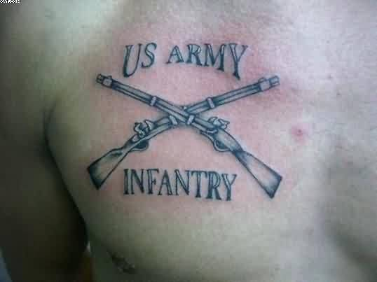 Amazing Army Gun And Infantry Text Tattoo On Chest