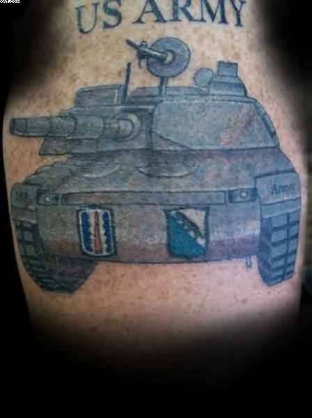 Amazing Army Tank Tattoo With Text