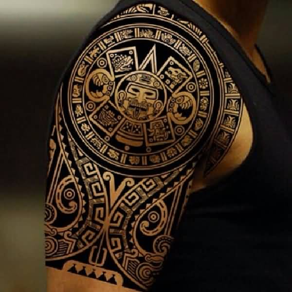Amazing Aztec Mask Tattoo Made By Black Ink
