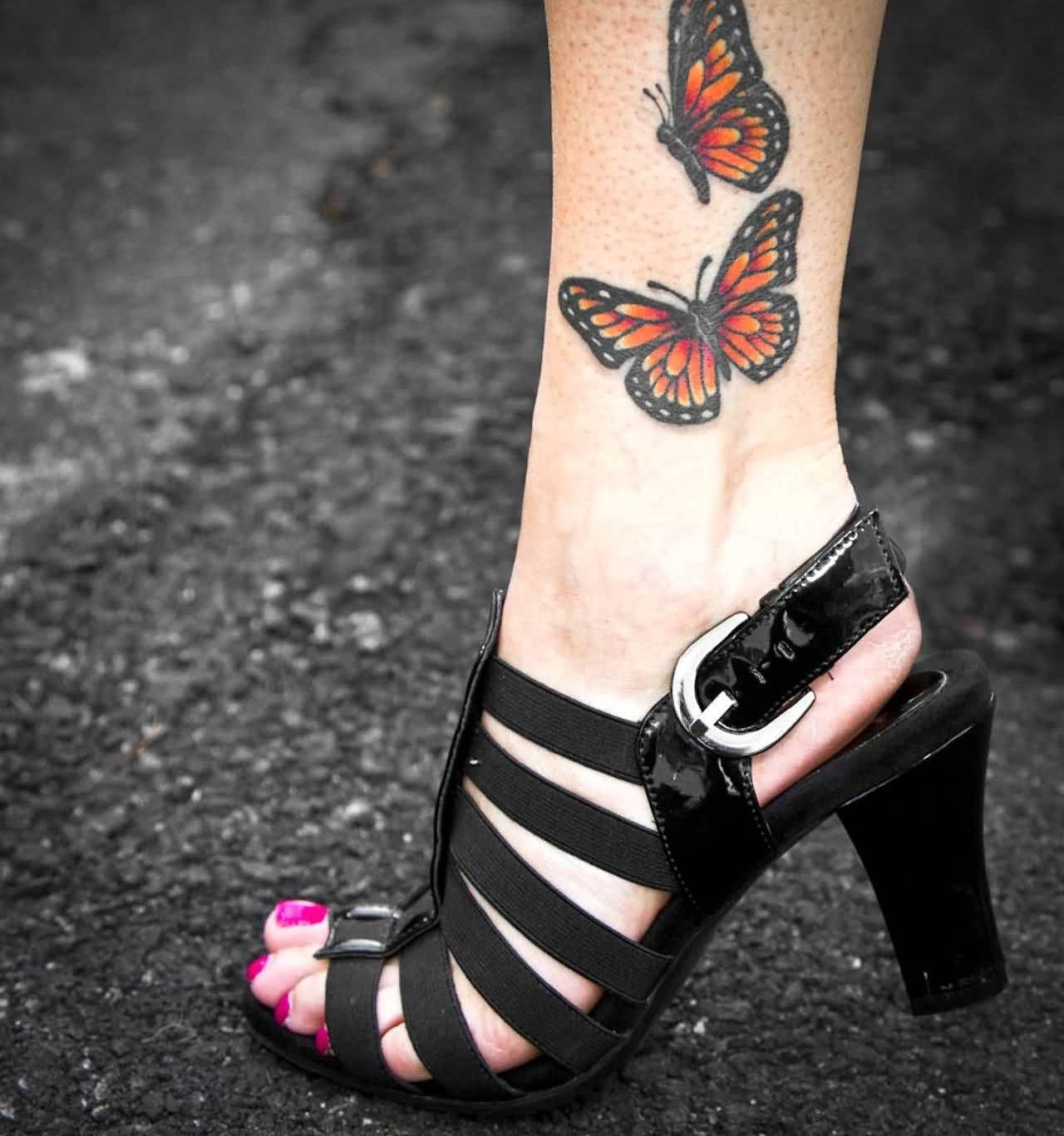 Outstanding Butterfly Ankle Tattoo For Girl