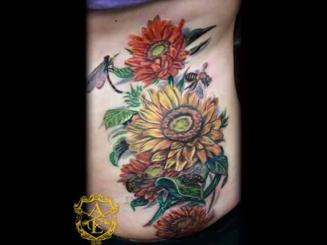 Bee flower tattoo ideas and bee flower tattoo designs page 9 for Bee and flower tattoo