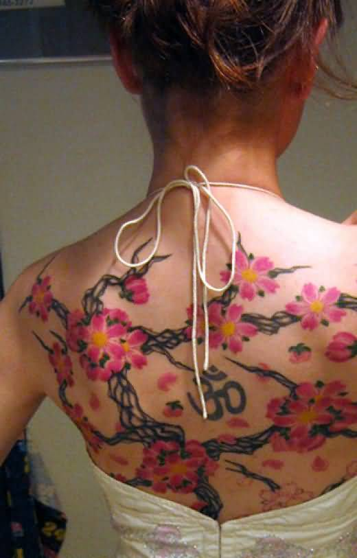 Amazing Flower Leaf And Om Symbol Tattoo For Women's Back