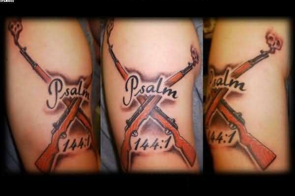 Amazing Pslam Word And Army Gun Tattoo