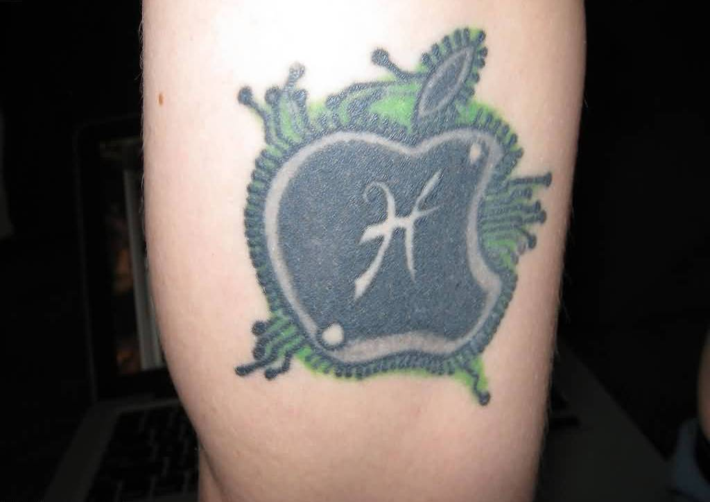 Outstanding Tattoo Of Apple Bite