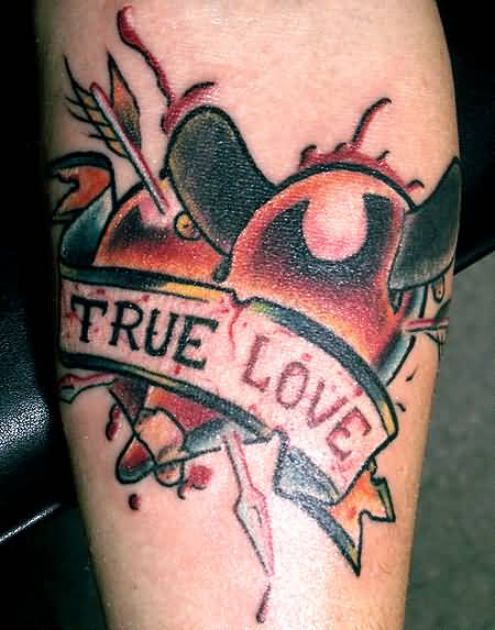 True Love Banner And Trendy Arrow Tattoo Design