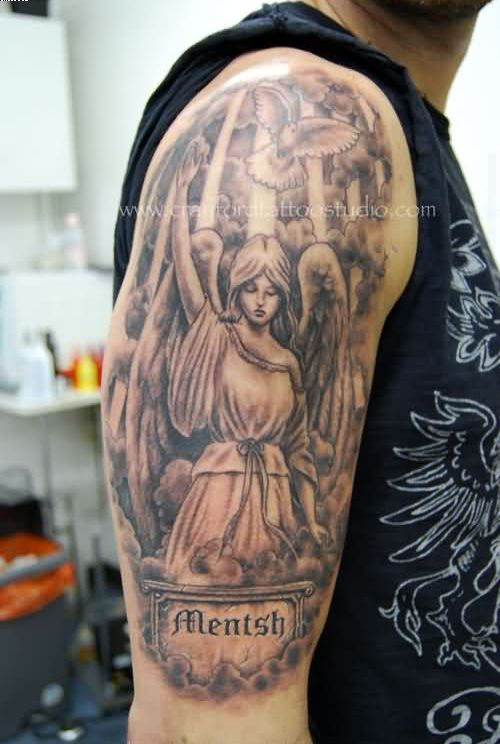 Upper arm tattoo ideas and upper arm tattoo designs page 11 for Angel half sleeve tattoo