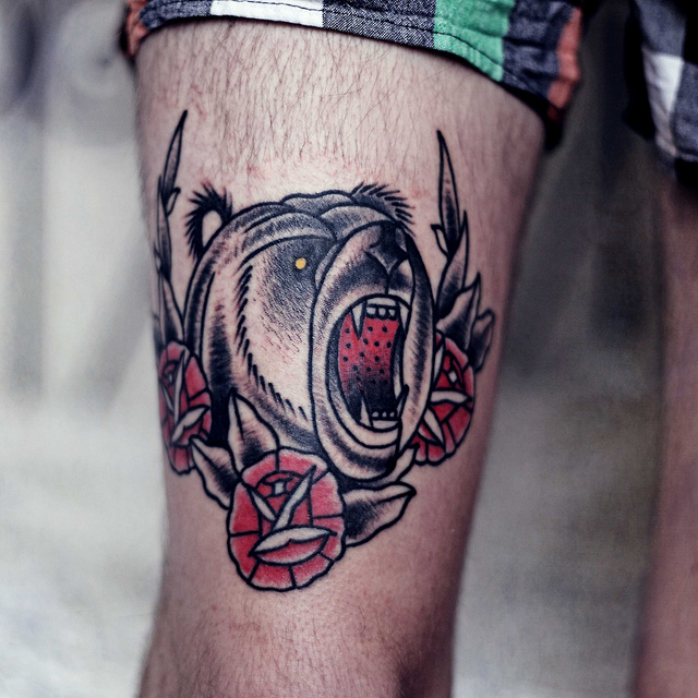 Angry Open Mouth Aggressive Bear Tattoo On Upper Leg