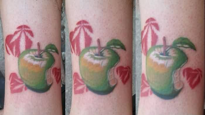Mind Blowing Apple Bite Tattoo On Sleeve