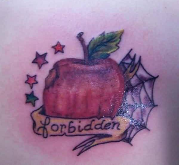 Amazing Apple Bite Tattoo With Forbidden Text