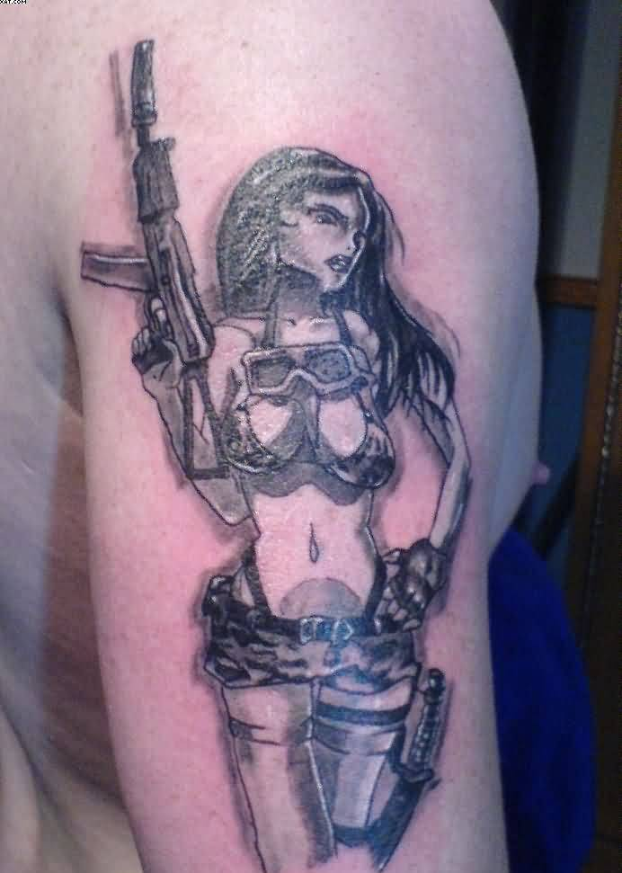 military pin up girl tattoos with guns. Black Bedroom Furniture Sets. Home Design Ideas