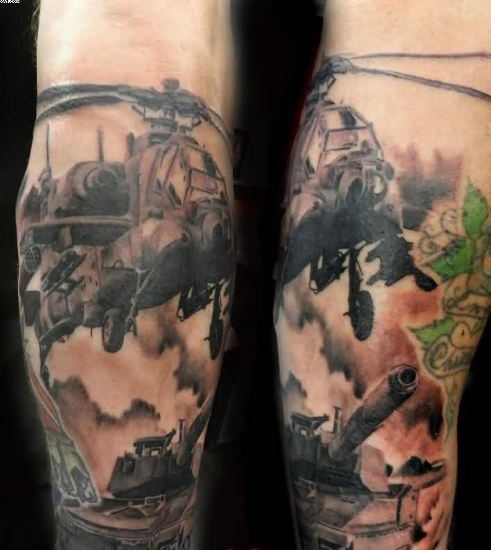 Army Helicopter And Tank Tattoo On Lower Arm