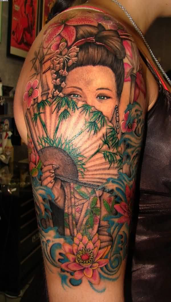 Asian Girl And Fan Tattoo For Asian Women