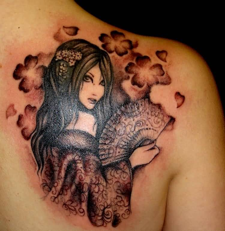 Asian Girl And Fan Tattoo On Men's Back