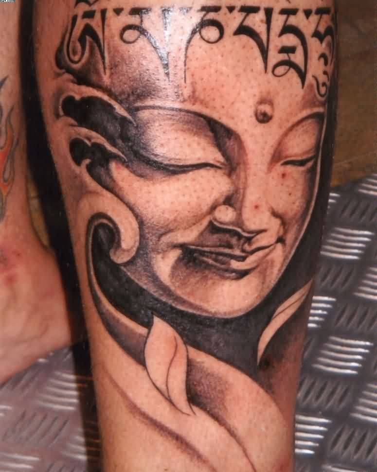 Asian Sleeping Buddha Tattoo On Leg