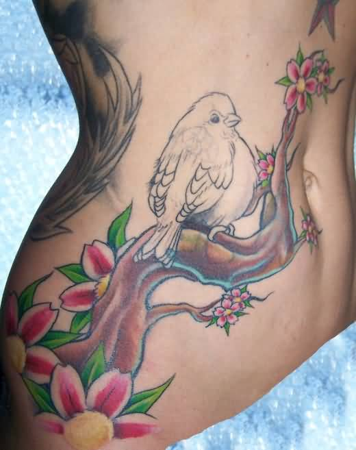 Attractive Belly Cover Up With Lovely Bird And Beautiful Flowers Tattoo