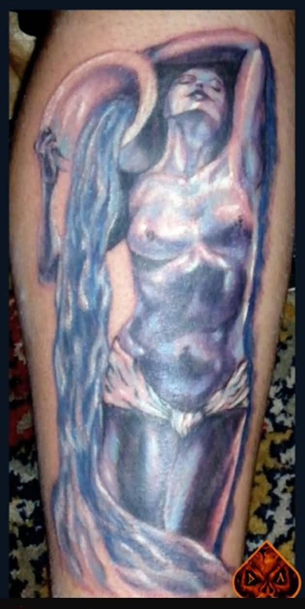 Classy Dropping Water Aquarius Tattoo
