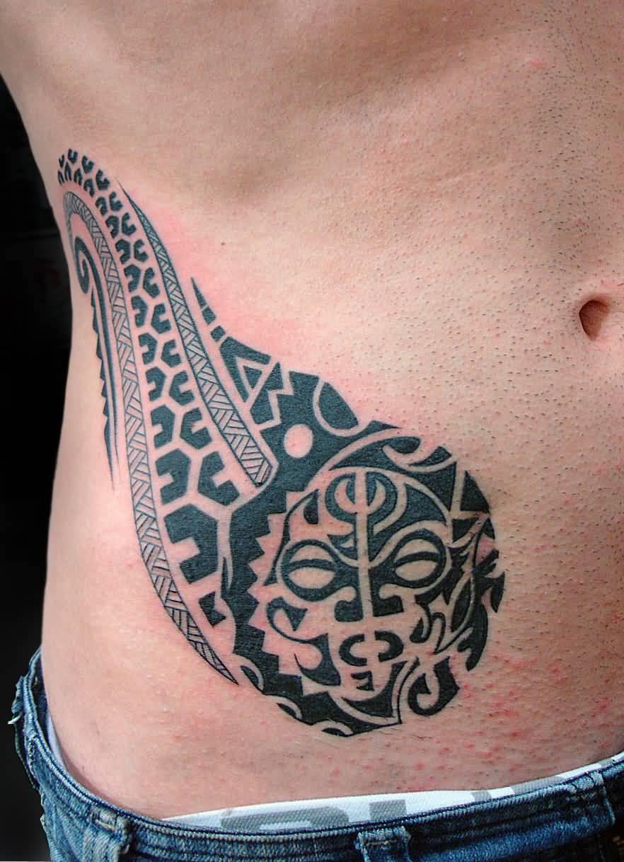 Attractive  Maori Abdomen Tattoo Design On Belly