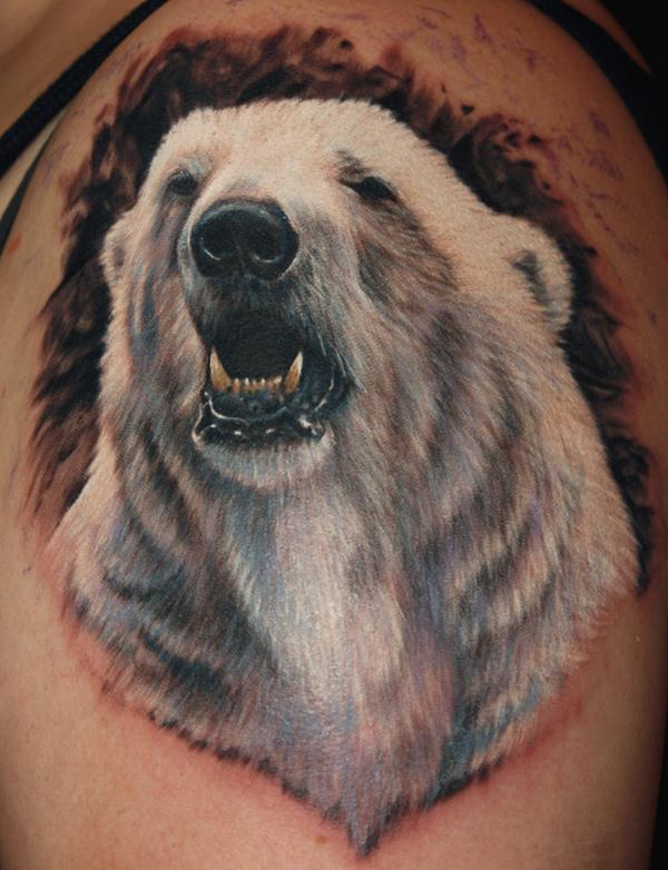 Awesome 3D White Polar Bear Tattoo Design On Upper Sleeve