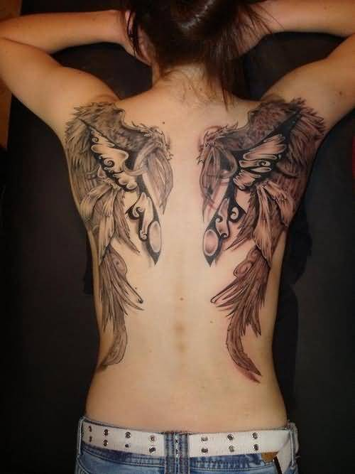 Awesome Angel Wings Tattoo For Women S Upper Back