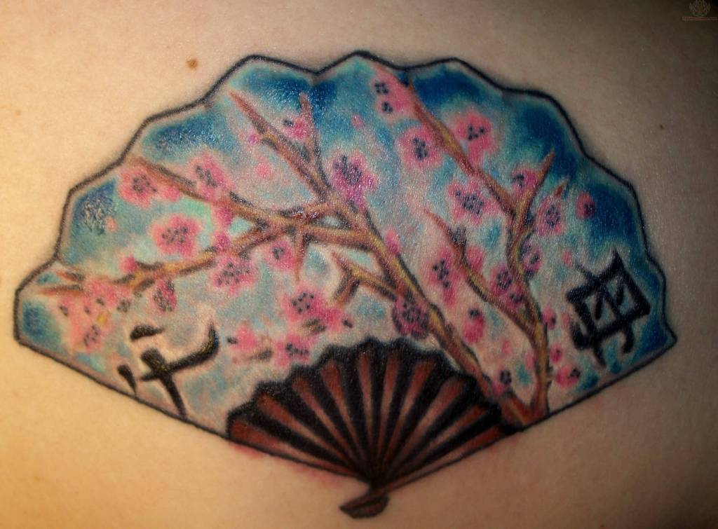 Awesome Asian Fan Tattoo Made By Ink
