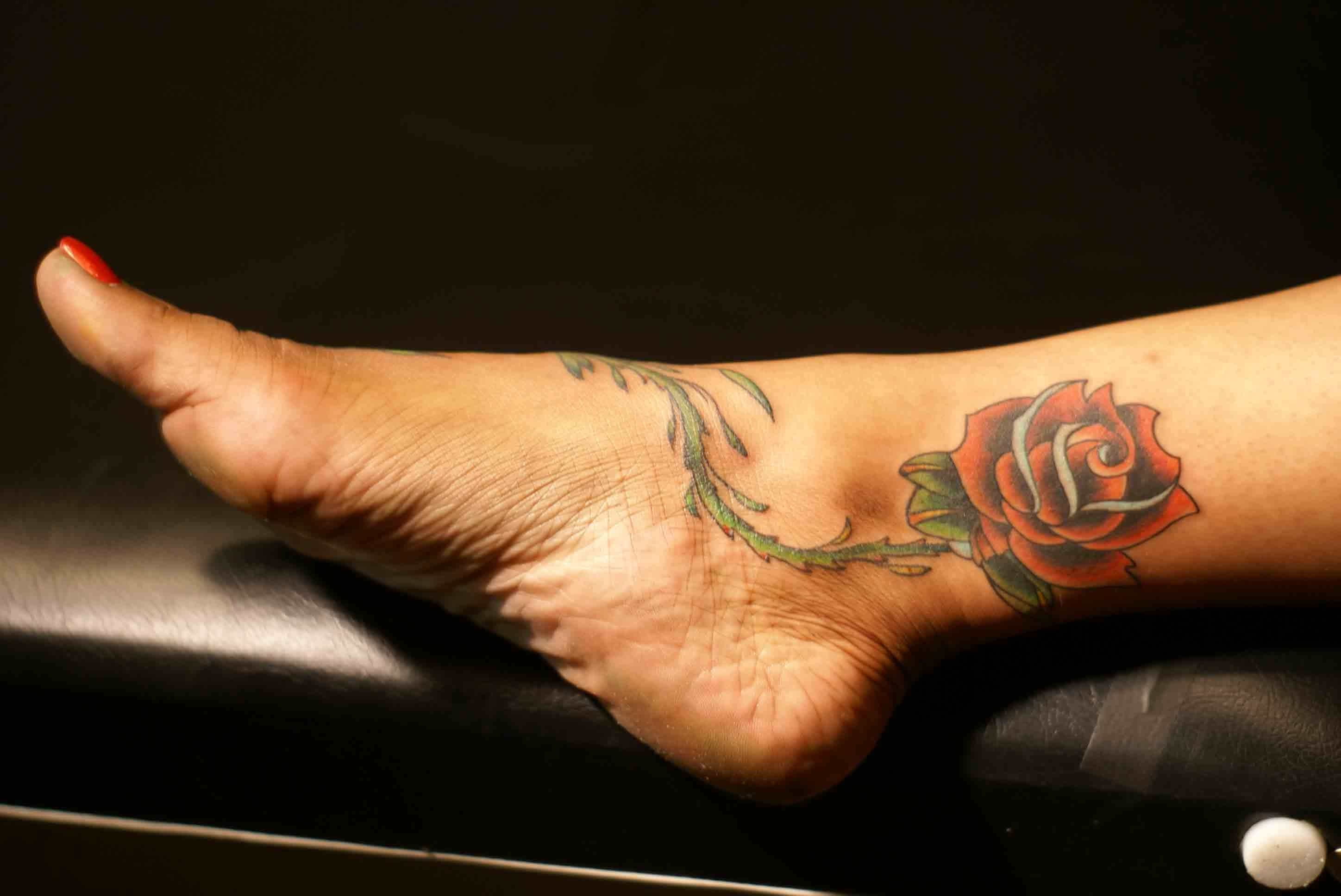 Amazing Flower Ankle Tattoo Design