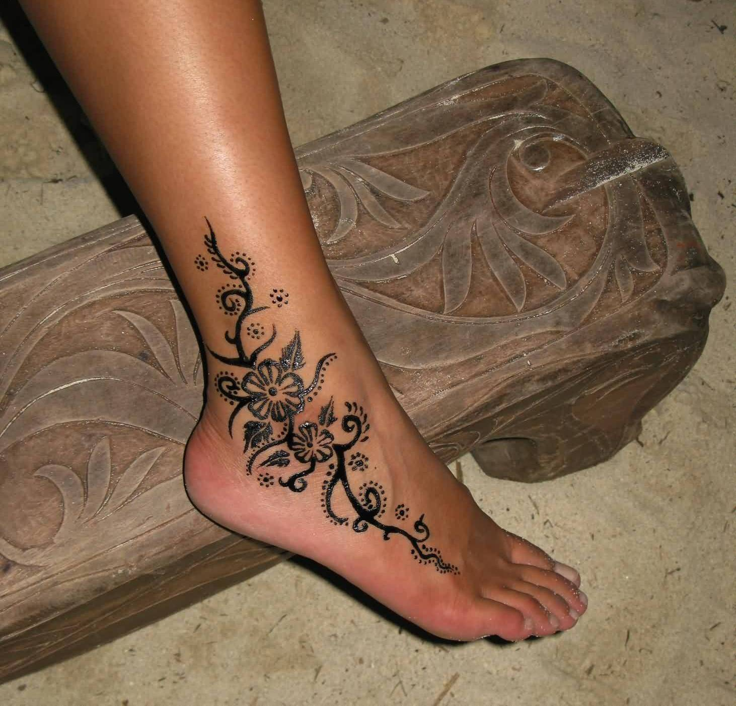 Great Looking Flower Ankle Tattoo Design