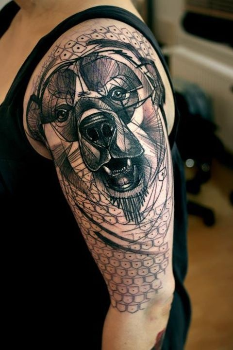 Awesome Upper Sleeve Coverup With Brilliant Geometric Bear Tattoo