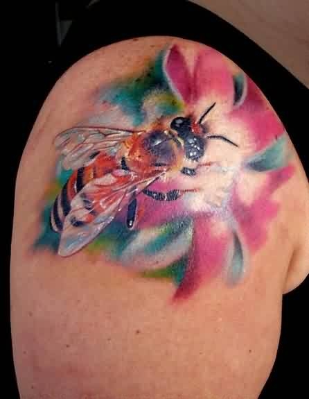 Awesome Upper Sleeve Coverup With Realistic Bee Flower Tattoo