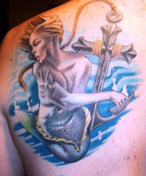 Brilliant Anchor And Mermaid Tattoo Made With Blue Ink