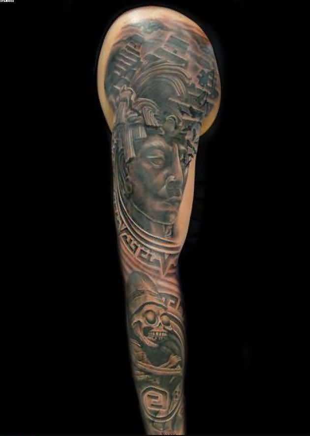 Aztec Full Arm Tattoo For Men