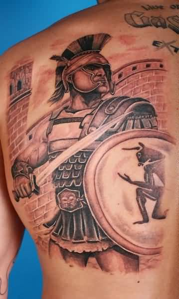 Aztec Warrior And Shield Tattoo For Handsome Men