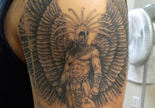 Aztec warrior and wings tattoo for men s sleeve for Aztec tattoos sleeve