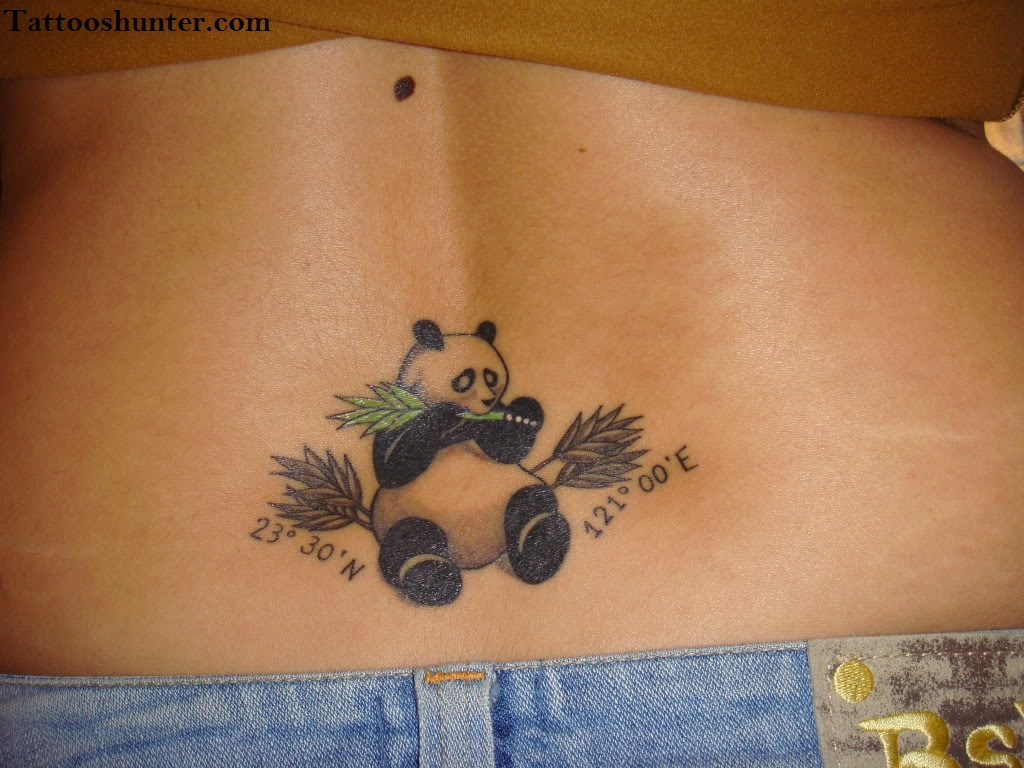 Baby Panda Bear Eat Leaf Tattoo On Lady's Back