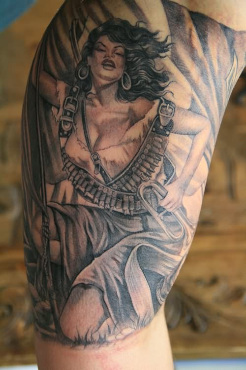 Beautiful Aztec Warrior Lady Tattoo On Upper Sleeve
