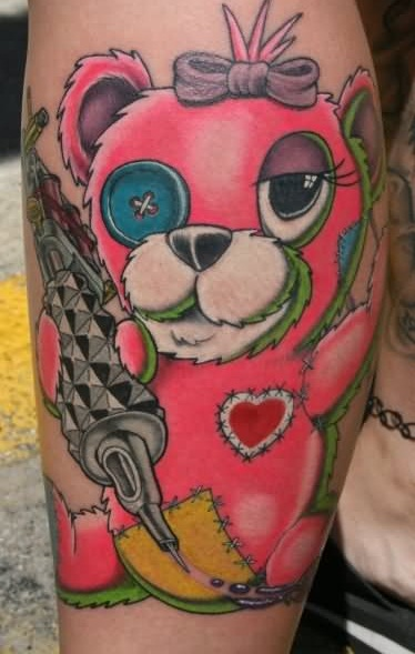 Beautiful Pink Teddy Bear Tattoo Made By Ink