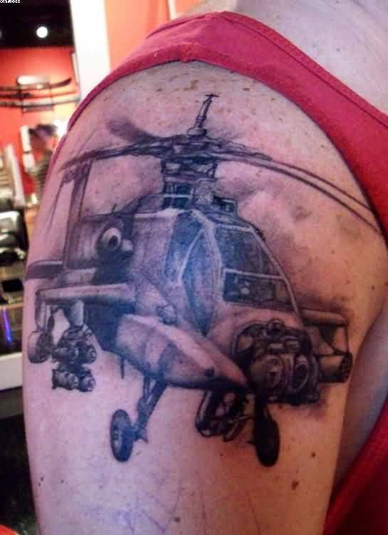 Best Army Helicopter Tattoo Design For Men