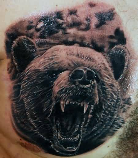 Brilliant Grizzly Bear Face Tattoo For Man's Chest