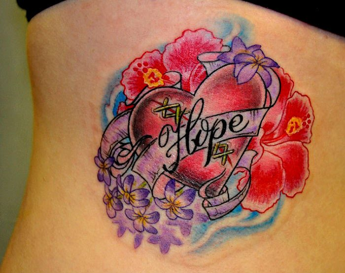 Brilliant Hope Banner And Lovely Flowers Tattoo On Rib Side