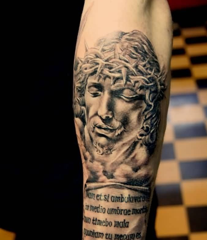 Brilliant Jesus And Text Tattoo On Arm